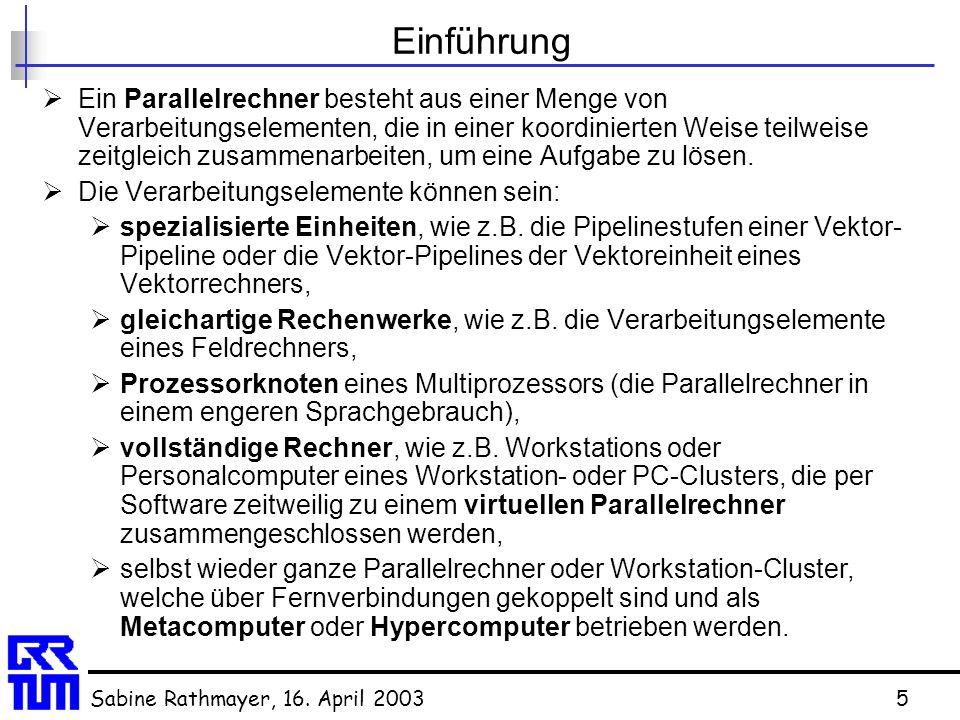 Sabine Rathmayer, 16. April 20035 Einführung  Ein Parallelrechner besteht aus einer Menge von Verarbeitungselementen, die in einer koordinierten Weis
