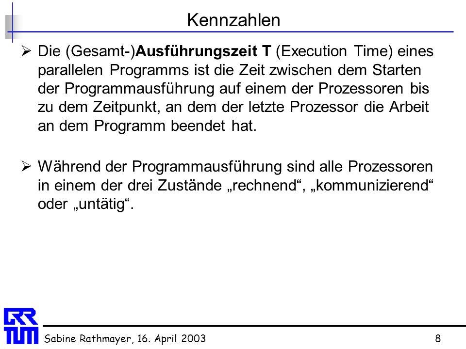 Sabine Rathmayer, 16. April 20038 Kennzahlen  Die (Gesamt-)Ausführungszeit T (Execution Time) eines parallelen Programms ist die Zeit zwischen dem St