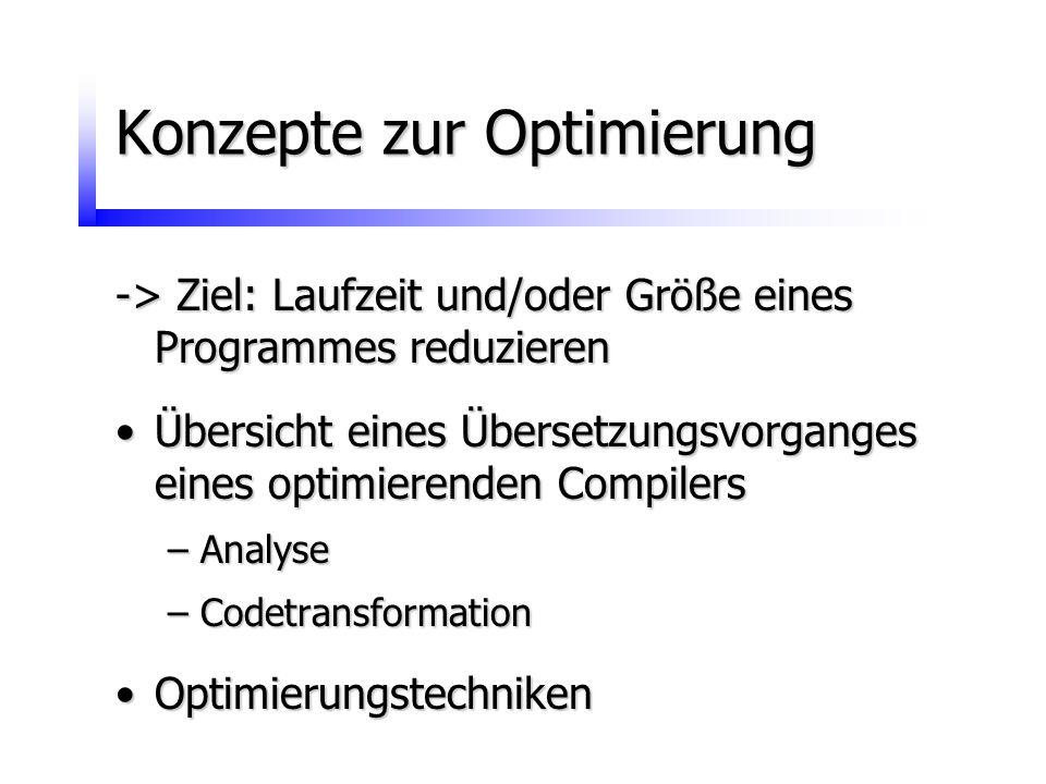 Konzepte zur Optimierung -> Ziel: Laufzeit und/oder Größe eines Programmes reduzieren Übersicht eines Übersetzungsvorganges eines optimierenden Compil