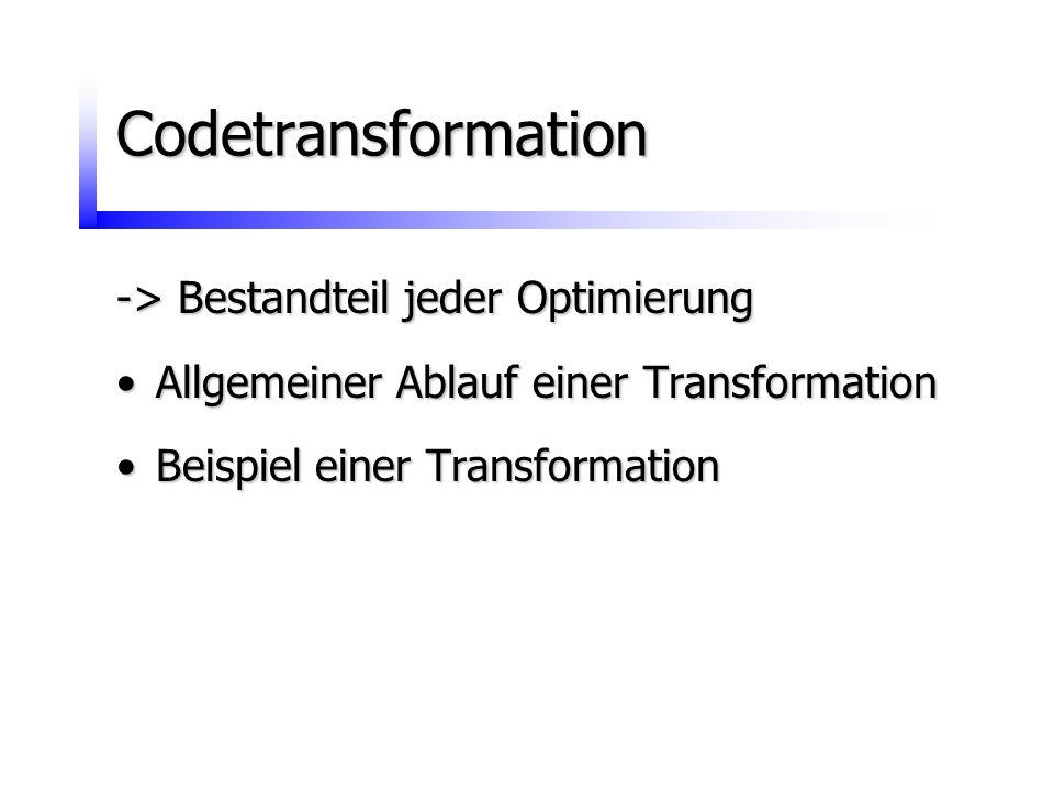 Codetransformation -> Bestandteil jeder Optimierung Allgemeiner Ablauf einer TransformationAllgemeiner Ablauf einer Transformation Beispiel einer Tran