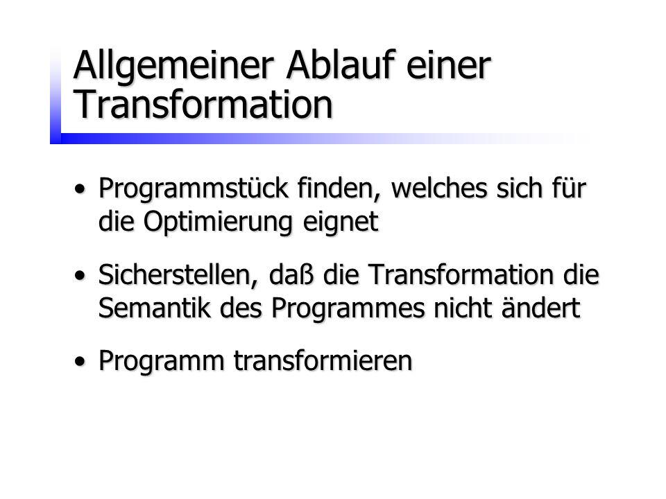 Allgemeiner Ablauf einer Transformation Programmstück finden, welches sich für die Optimierung eignetProgrammstück finden, welches sich für die Optimi