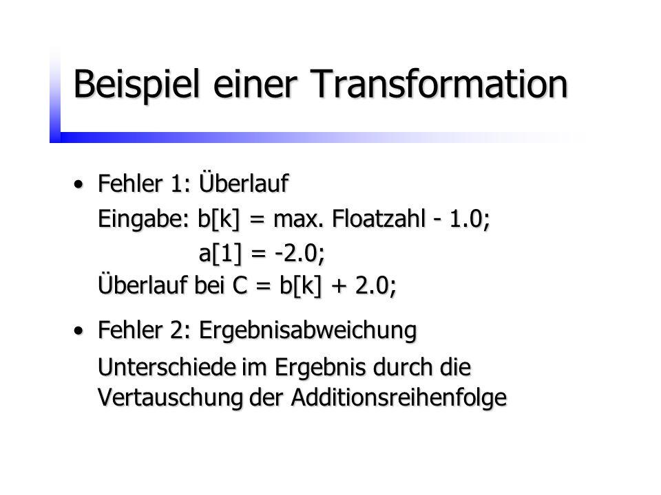 Fehler 1: ÜberlaufFehler 1: Überlauf Eingabe: b[k] = max. Floatzahl - 1.0; a[1] = -2.0; a[1] = -2.0; Überlauf bei C = b[k] + 2.0; Fehler 2: Ergebnisab