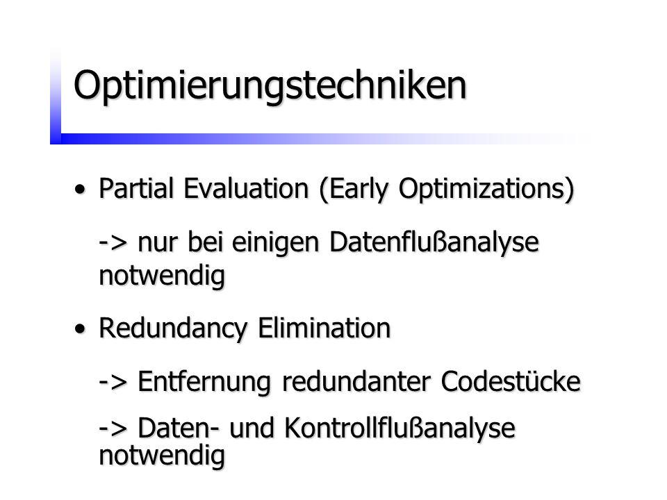 Optimierungstechniken Partial Evaluation (Early Optimizations)Partial Evaluation (Early Optimizations) -> nur bei einigen Datenflußanalyse notwendig R