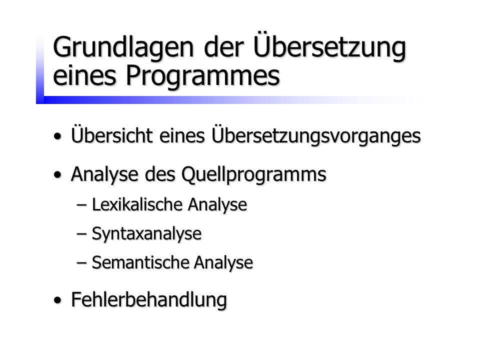 Grundlagen der Übersetzung eines Programmes Übersicht eines ÜbersetzungsvorgangesÜbersicht eines Übersetzungsvorganges Analyse des QuellprogrammsAnaly
