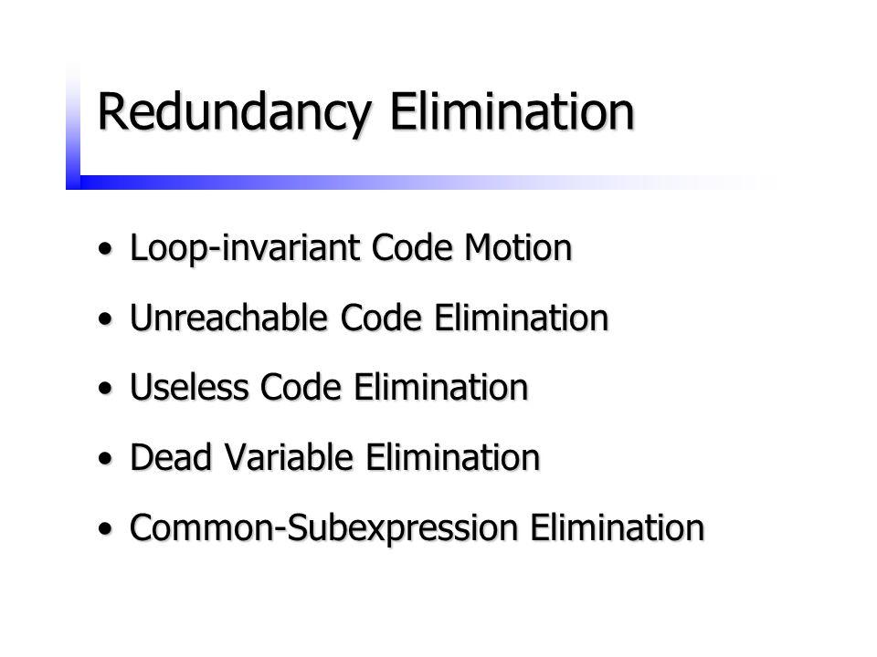 Redundancy Elimination Loop-invariant Code MotionLoop-invariant Code Motion Unreachable Code EliminationUnreachable Code Elimination Useless Code Elim