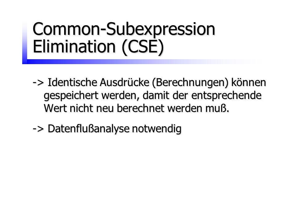 Common-Subexpression Elimination (CSE) -> Identische Ausdrücke (Berechnungen) können gespeichert werden, damit der entsprechende Wert nicht neu berech
