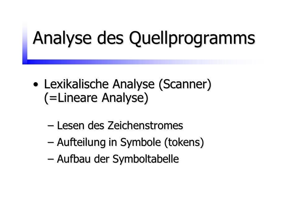 Analyse des Quellprogramms Lexikalische Analyse (Scanner)Lexikalische Analyse (Scanner) (=Lineare Analyse) –Lesen des Zeichenstromes –Aufteilung in Sy