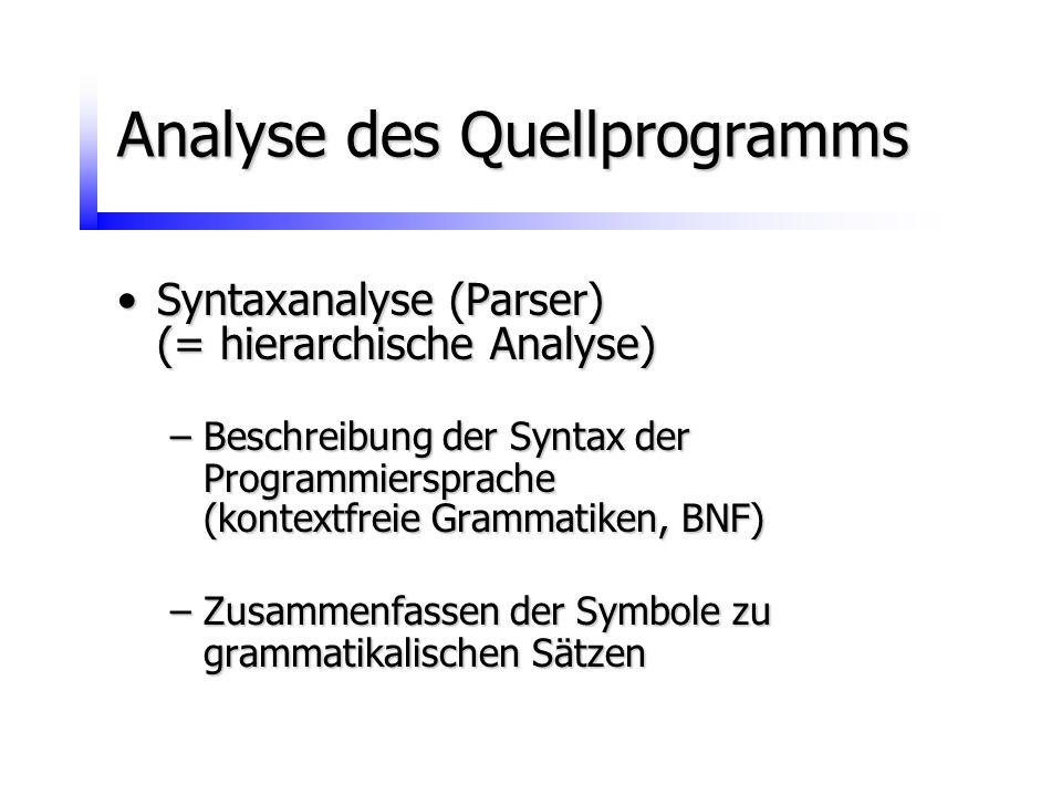 Analyse des Quellprogramms Syntaxanalyse (Parser)Syntaxanalyse (Parser) (= hierarchische Analyse) –Beschreibung der Syntax der Programmiersprache (kon