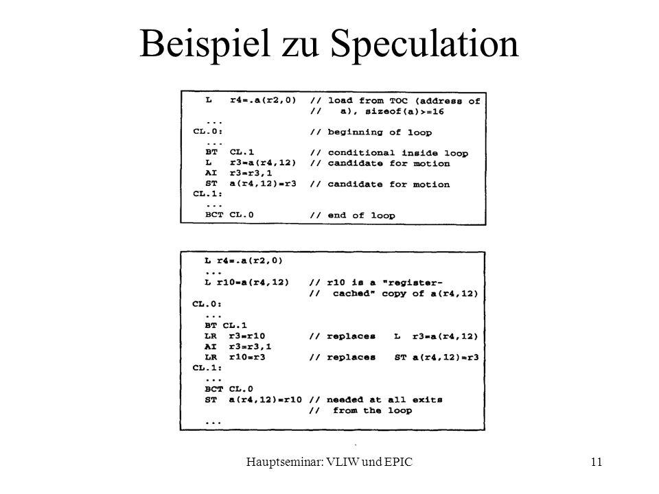 Hauptseminar: VLIW und EPIC11 Beispiel zu Speculation