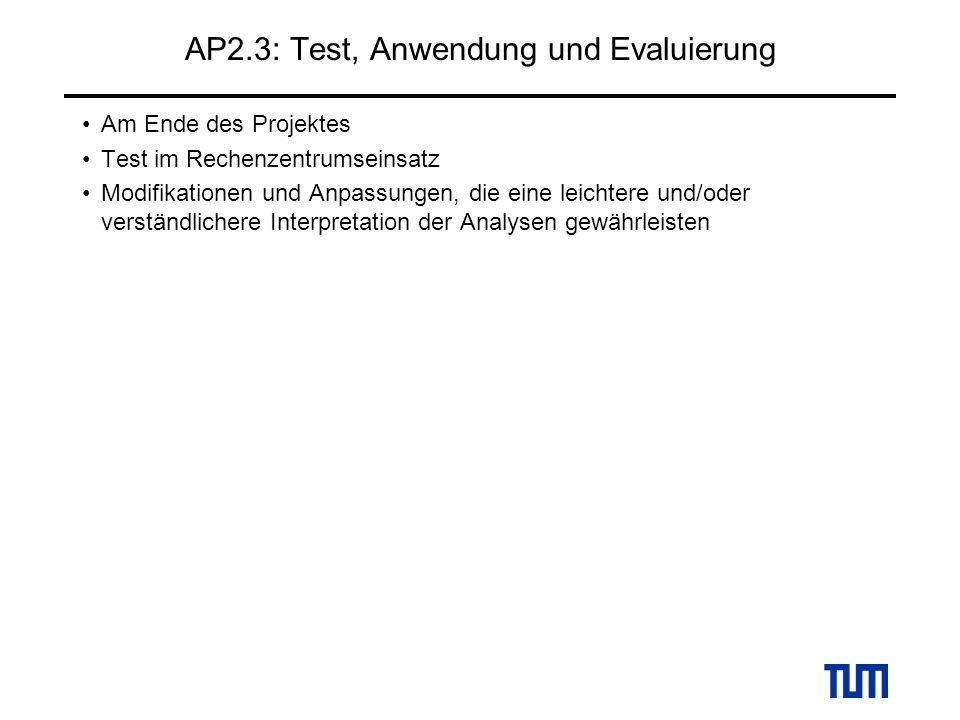 AP2.3: Test, Anwendung und Evaluierung Am Ende des Projektes Test im Rechenzentrumseinsatz Modifikationen und Anpassungen, die eine leichtere und/oder verständlichere Interpretation der Analysen gewährleisten