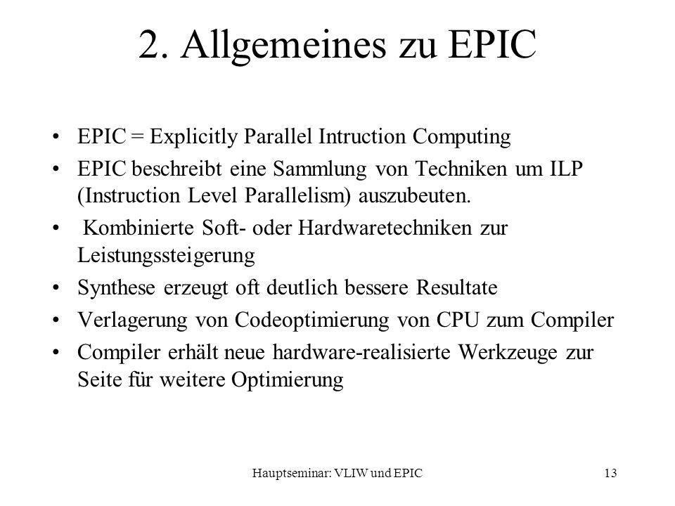 Hauptseminar: VLIW und EPIC13 2.