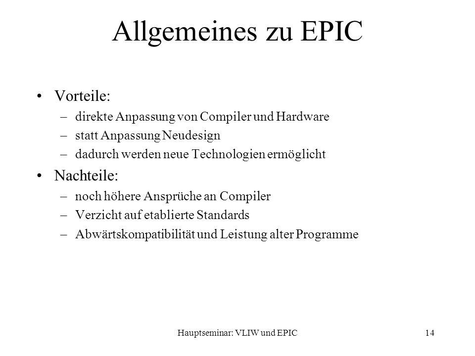 Hauptseminar: VLIW und EPIC14 Allgemeines zu EPIC Vorteile: –direkte Anpassung von Compiler und Hardware –statt Anpassung Neudesign –dadurch werden neue Technologien ermöglicht Nachteile: –noch höhere Ansprüche an Compiler –Verzicht auf etablierte Standards –Abwärtskompatibilität und Leistung alter Programme