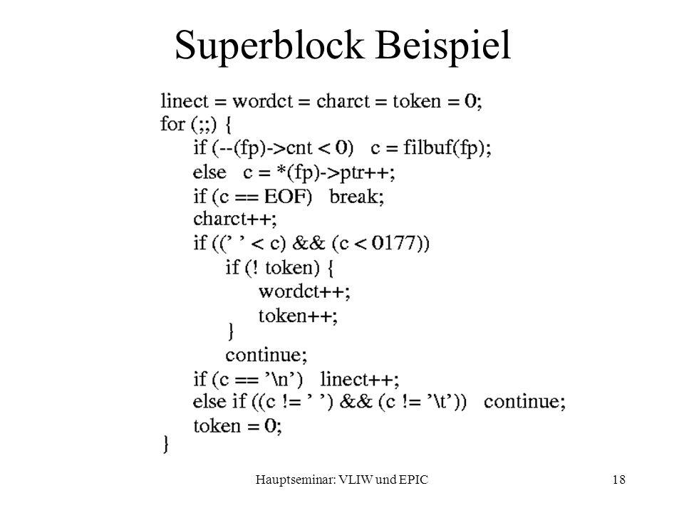 Hauptseminar: VLIW und EPIC18 Superblock Beispiel
