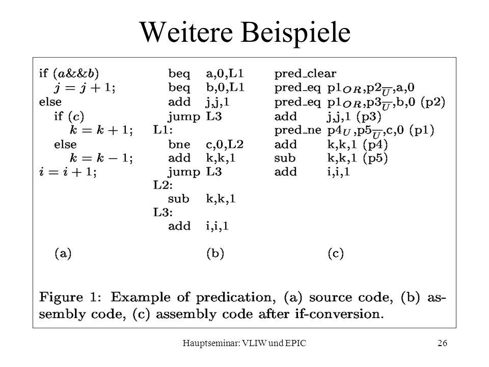 Hauptseminar: VLIW und EPIC26 Weitere Beispiele