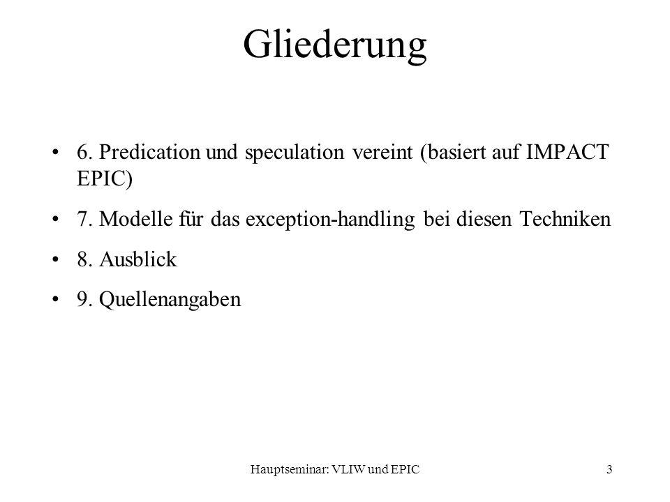 Hauptseminar: VLIW und EPIC3 Gliederung 6.