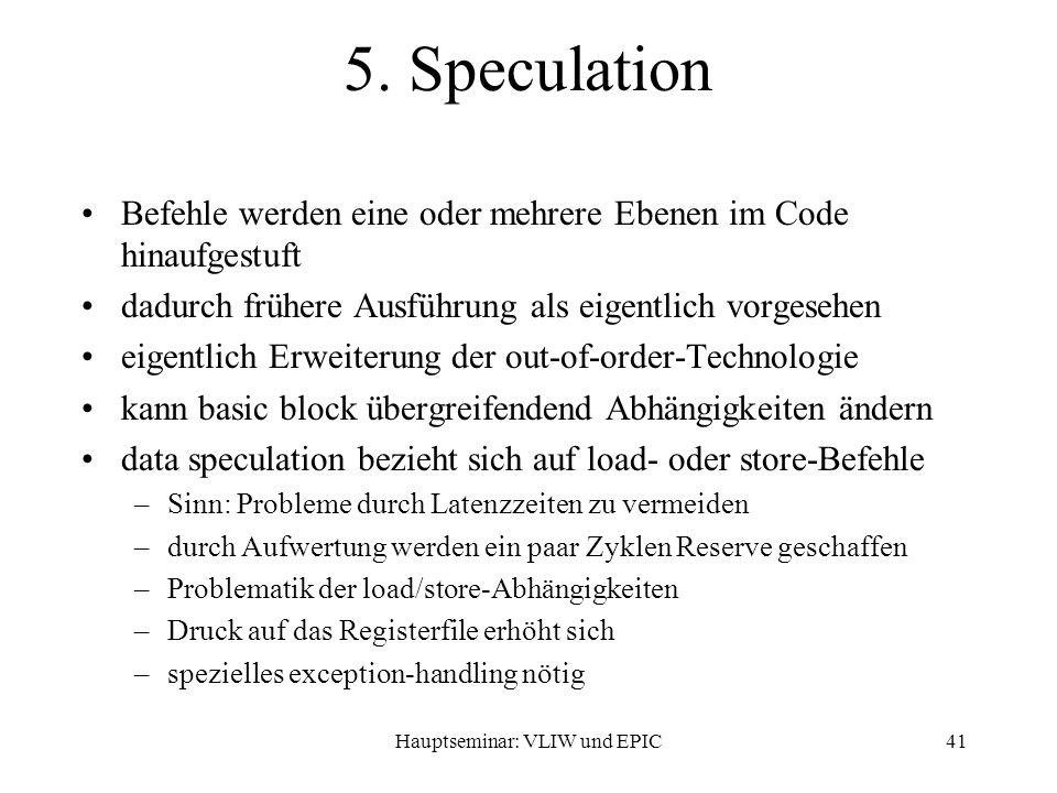 Hauptseminar: VLIW und EPIC41 5.