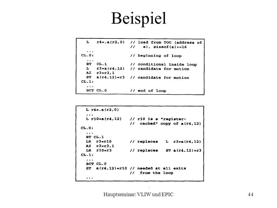 Hauptseminar: VLIW und EPIC44 Beispiel