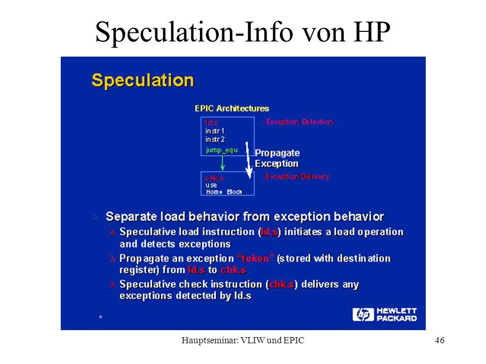 Hauptseminar: VLIW und EPIC46 Speculation-Info von HP