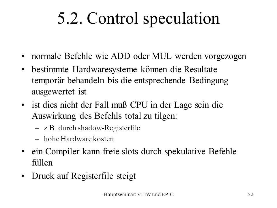 Hauptseminar: VLIW und EPIC52 5.2.