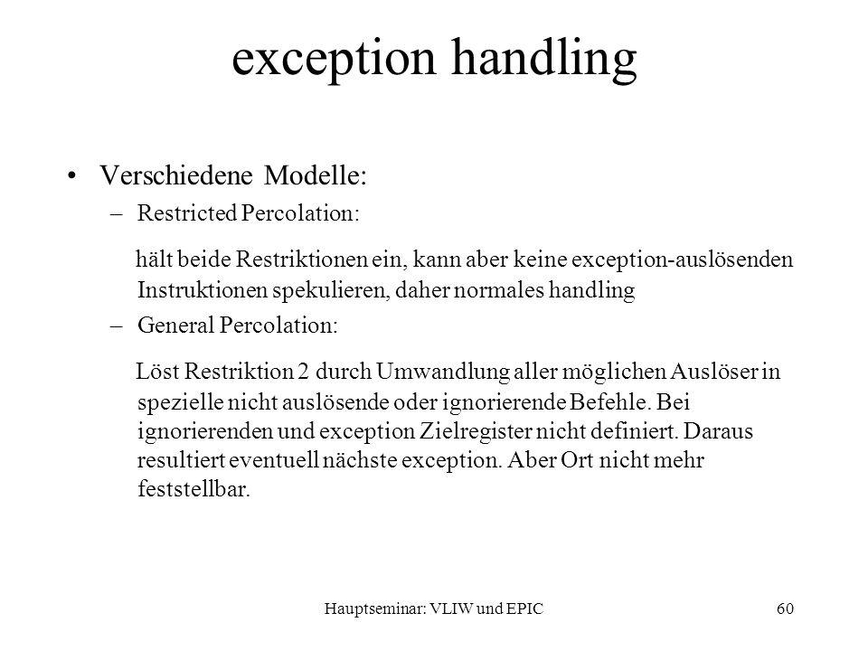 Hauptseminar: VLIW und EPIC60 exception handling Verschiedene Modelle: –Restricted Percolation: hält beide Restriktionen ein, kann aber keine exception-auslösenden Instruktionen spekulieren, daher normales handling –General Percolation: Löst Restriktion 2 durch Umwandlung aller möglichen Auslöser in spezielle nicht auslösende oder ignorierende Befehle.