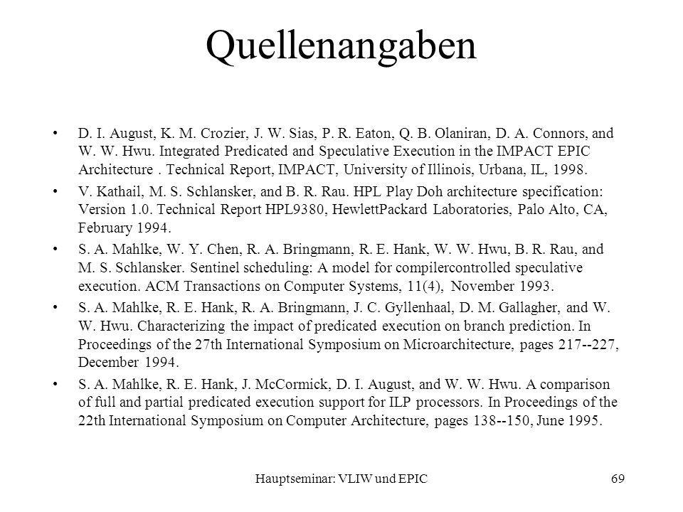 Hauptseminar: VLIW und EPIC69 Quellenangaben D. I.