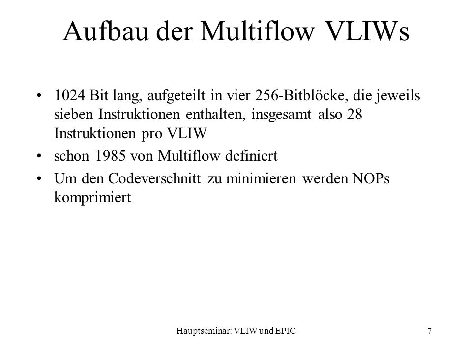 Hauptseminar: VLIW und EPIC58 Performance