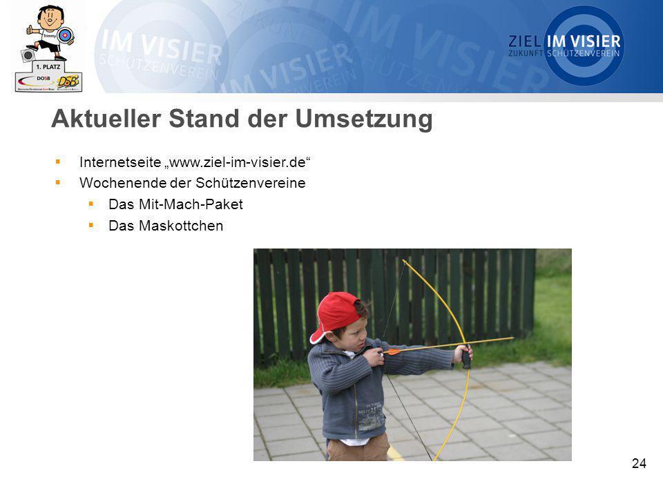 """24 Aktueller Stand der Umsetzung  Internetseite """"www.ziel-im-visier.de""""  Wochenende der Schützenvereine  Das Mit-Mach-Paket  Das Maskottchen"""