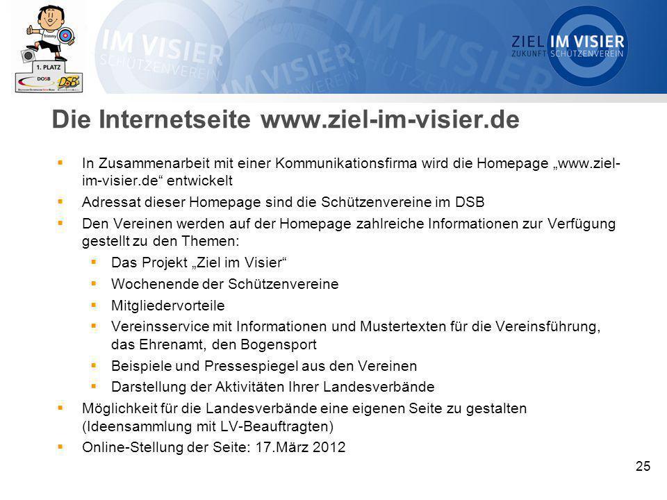 """25 Die Internetseite www.ziel-im-visier.de  In Zusammenarbeit mit einer Kommunikationsfirma wird die Homepage """"www.ziel- im-visier.de"""" entwickelt  A"""