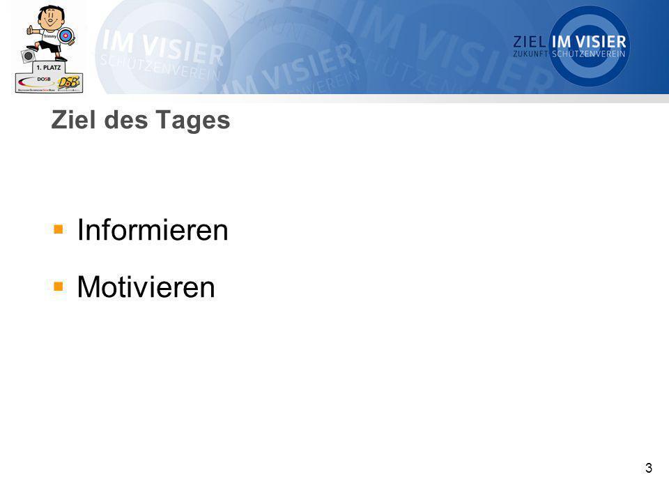 4 Tagesplanung  10.30 – 10.45 Uhr Begrüßung und Vorstellungsrunde  10.45 – 11.30 Uhr Projektbeschreibung  11.30 – 11.45 Uhr Kaffeepause  11.45 – 12.30 Uhr www.ziel-im-visier.de  12.30 – 13.30 Uhr Mittagessen  13.30 – 14.30 Uhr Wochenende der Schützenvereine  14.30 – 15.00 Uhr Motivation der Vereine  15.00 – 15.15 Uhr Kaffeepause  15.15 – 16.00 Uhr Aktivitäten in den LV  16.00 – 16.30 UhrAbschluss und Feedback
