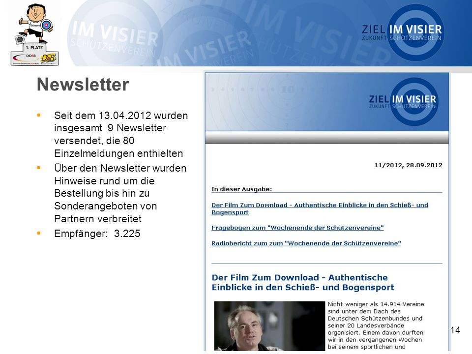 Newsletter  Seit dem 13.04.2012 wurden insgesamt 9 Newsletter versendet, die 80 Einzelmeldungen enthielten  Über den Newsletter wurden Hinweise rund um die Bestellung bis hin zu Sonderangeboten von Partnern verbreitet  Empfänger: 3.225 14