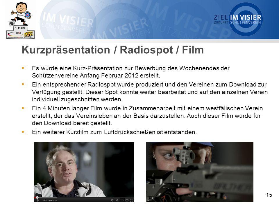 Kurzpräsentation / Radiospot / Film  Es wurde eine Kurz-Präsentation zur Bewerbung des Wochenendes der Schützenvereine Anfang Februar 2012 erstellt.