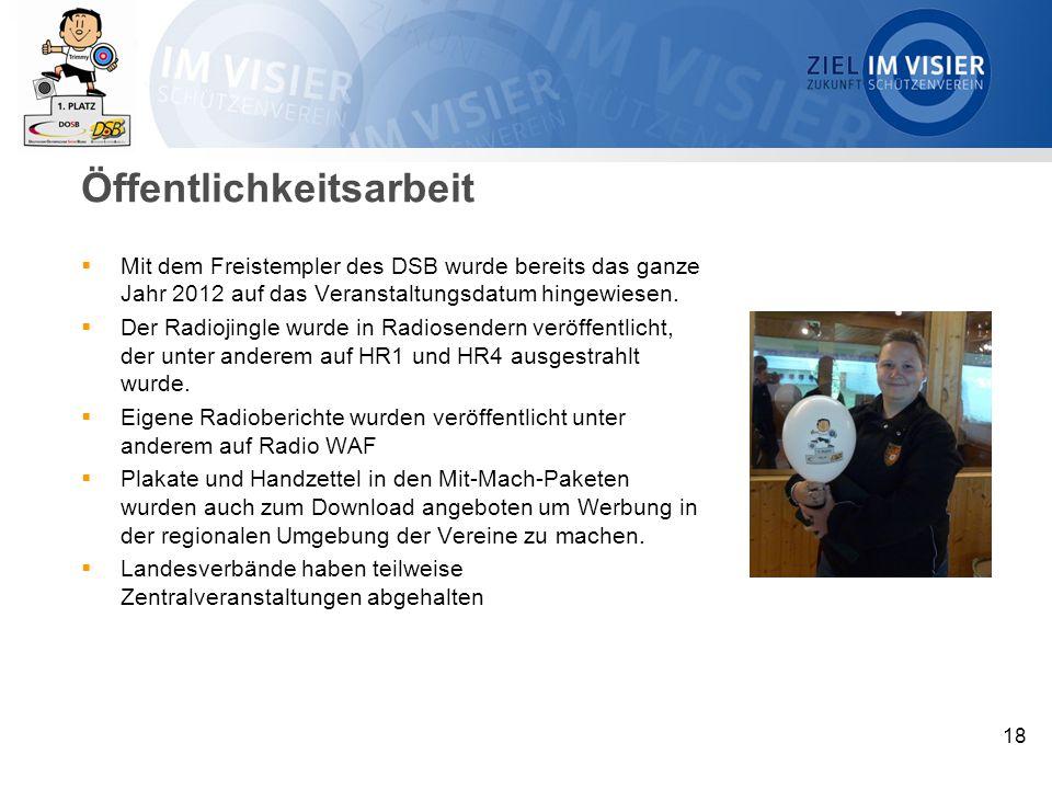 Öffentlichkeitsarbeit  Mit dem Freistempler des DSB wurde bereits das ganze Jahr 2012 auf das Veranstaltungsdatum hingewiesen.