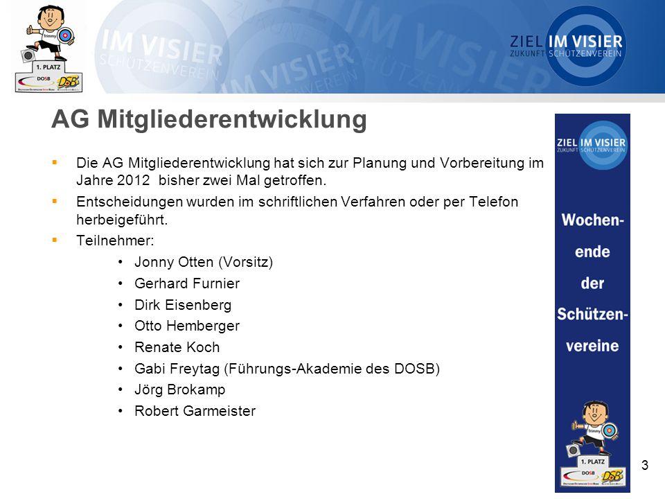 AG Mitgliederentwicklung  Die AG Mitgliederentwicklung hat sich zur Planung und Vorbereitung im Jahre 2012 bisher zwei Mal getroffen.