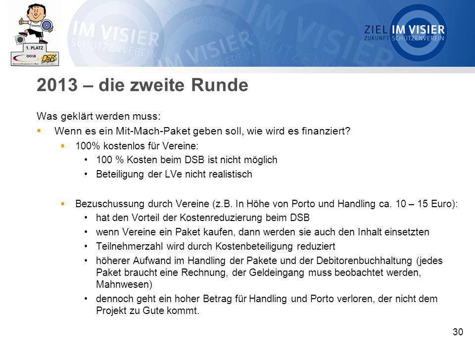 2013 – die zweite Runde Was geklärt werden muss:  Wenn es ein Mit-Mach-Paket geben soll, wie wird es finanziert.