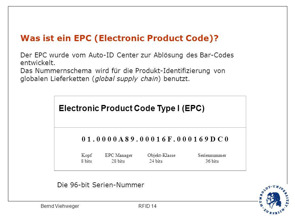 RFID 14Bernd Viehweger Was ist ein EPC (Electronic Product Code)? Der EPC wurde vom Auto-ID Center zur Ablösung des Bar-Codes entwickelt. Das Nummerns
