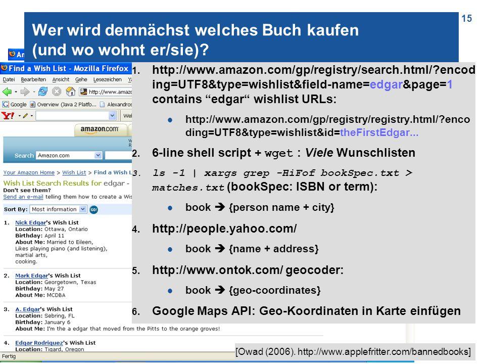 15 Wer wird demnächst welches Buch kaufen (und wo wohnt er/sie)? 1. http://www.amazon.com/gp/registry/search.html/?encod ing=UTF8&type=wishlist&field-