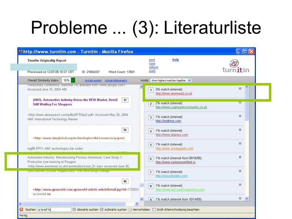 Probleme... (3): Literaturliste