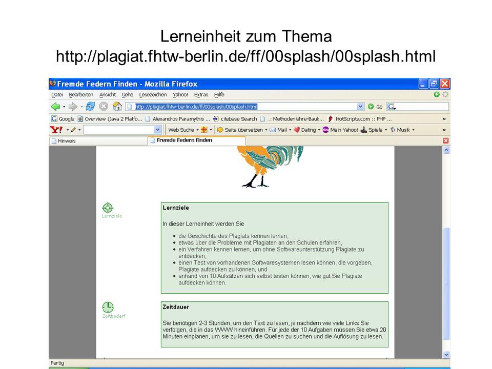 Lerneinheit zum Thema http://plagiat.fhtw-berlin.de/ff/00splash/00splash.html
