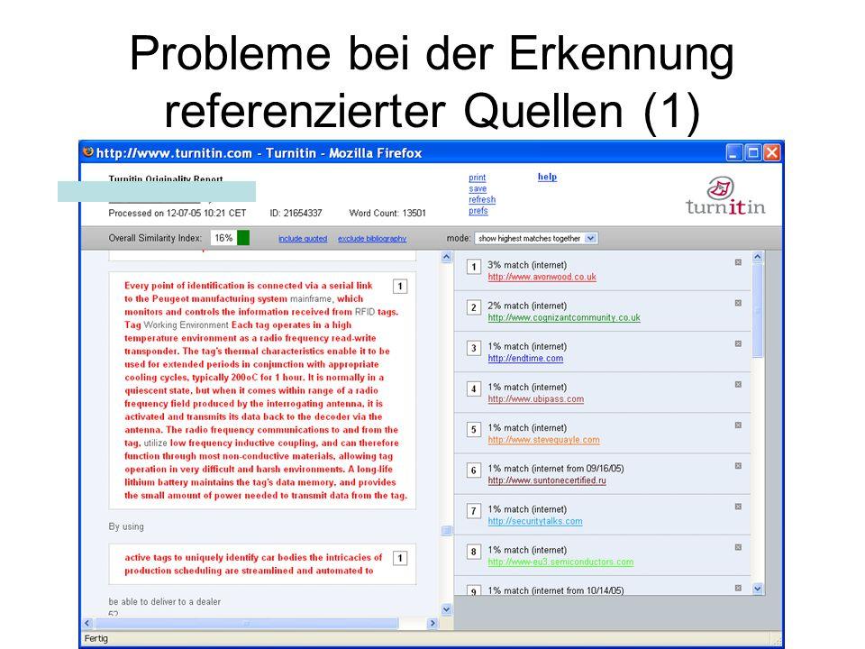 Probleme bei der Erkennung referenzierter Quellen (1)