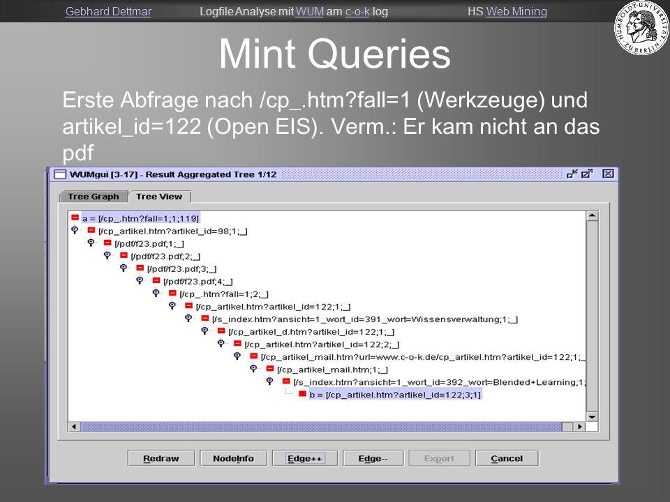 Gebhard DettmarGebhard DettmarLogfile Analyse mit WUM am c-o-k.logHS Web MiningWUMc-o-kWeb Mining 15 Mint Queries Erste Abfrage nach /cp_.htm fall=1 (Werkzeuge) und artikel_id=122 (Open EIS).