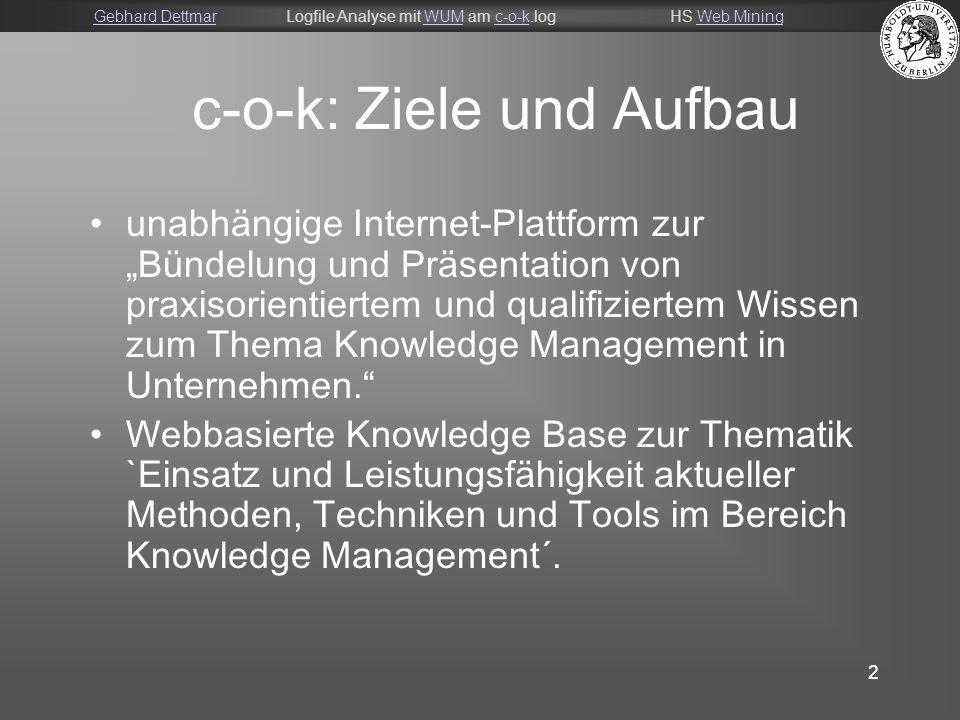 Gebhard DettmarGebhard DettmarLogfile Analyse mit WUM am c-o-k.logHS Web MiningWUMc-o-kWeb Mining 3 C-o-k Aufbau