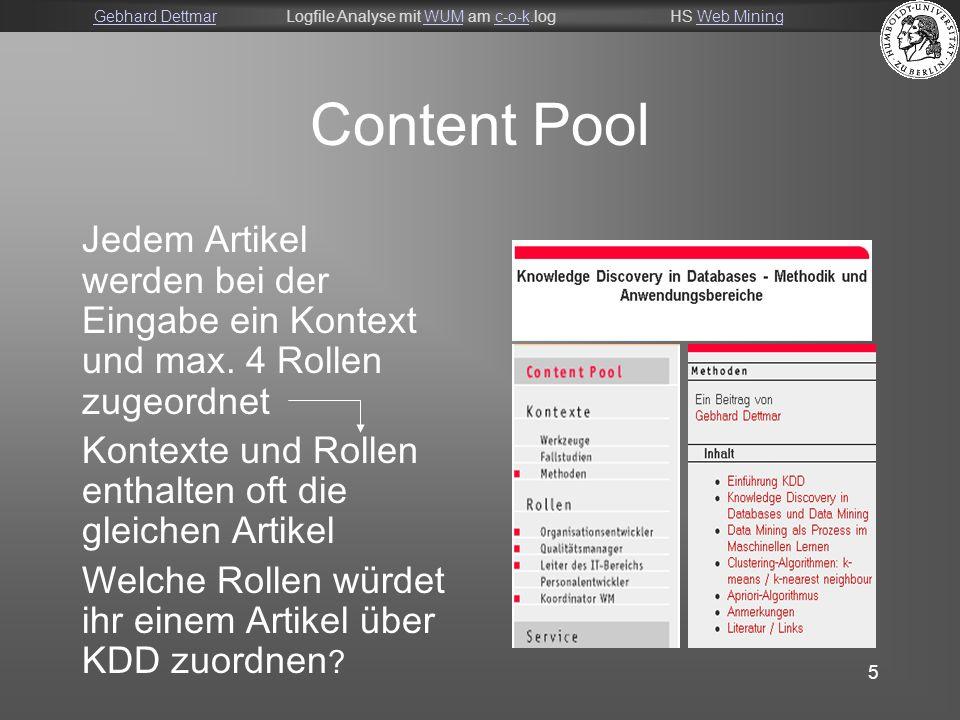 Gebhard DettmarGebhard DettmarLogfile Analyse mit WUM am c-o-k.logHS Web MiningWUMc-o-kWeb Mining 5 Content Pool Jedem Artikel werden bei der Eingabe ein Kontext und max.