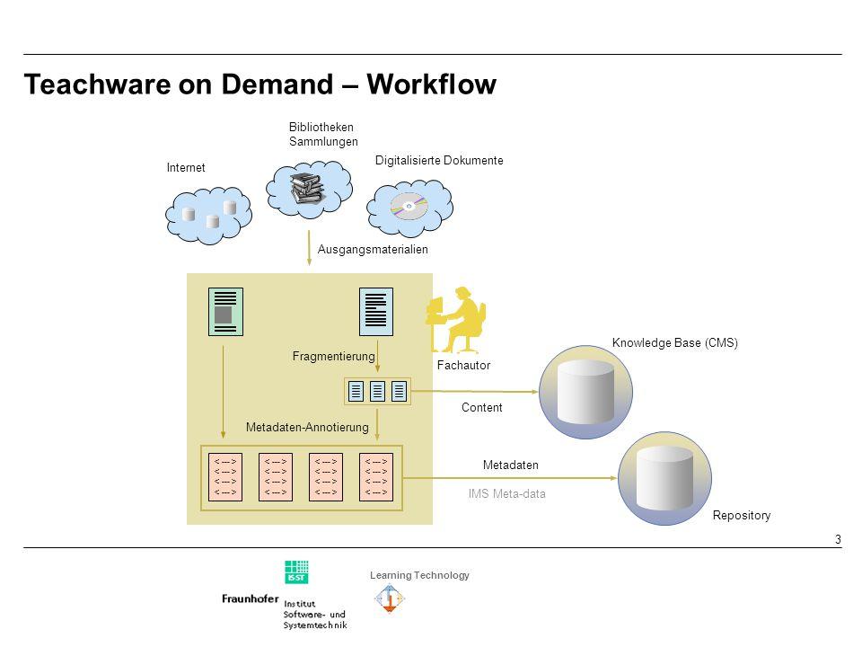 Learning Technology 4 Fachautor Fragmentierung Teka doc, html, pdf, ppt mmp, html, txt, xml Lernziele Voraussetzung IR- Space LOM-Editor Teachware – Workflow – Metadaten-Annotierung