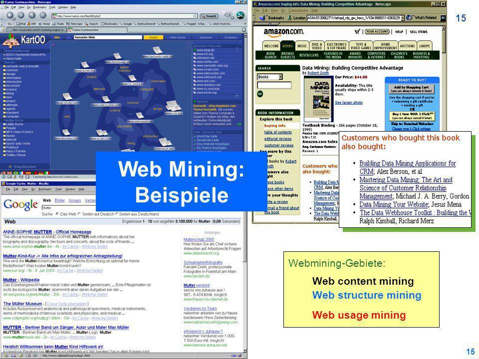15 Webmining-Gebiete: Web content mining Web structure mining Web usage mining Web Mining: Beispiele