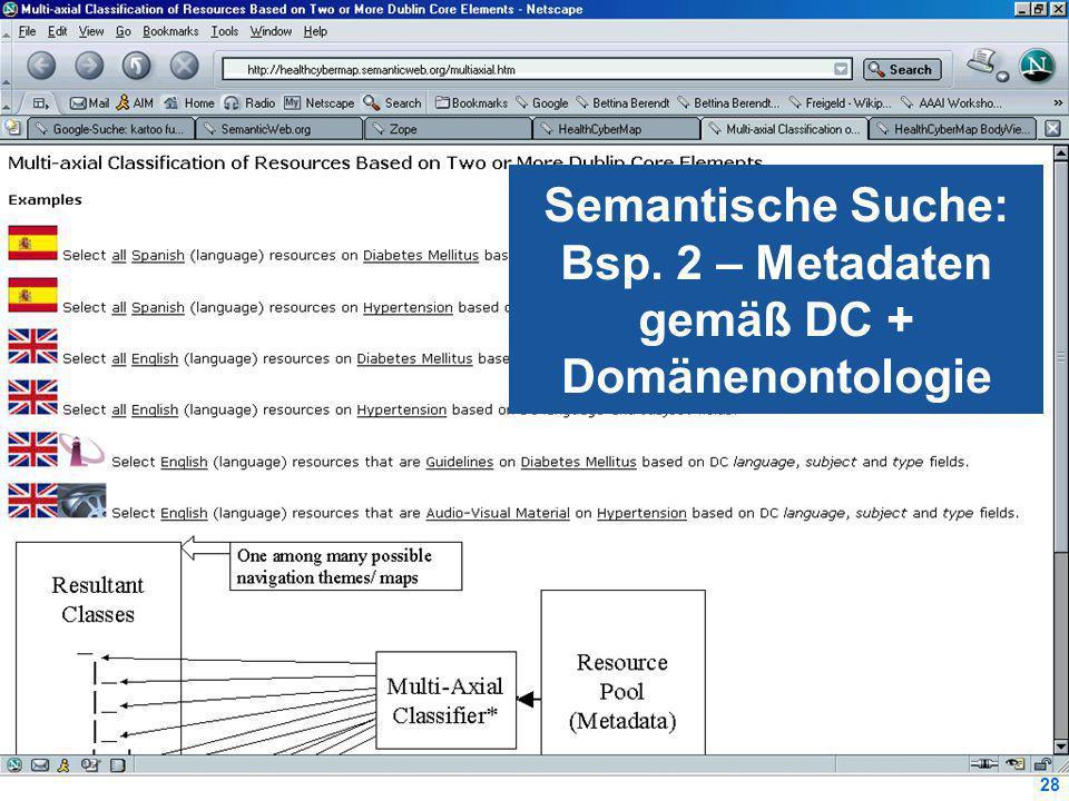 28 Semantische Suche: Bsp. 2 – Metadaten gemäß DC + Domänenontologie