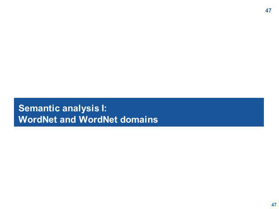 47 Semantic analysis I: WordNet and WordNet domains