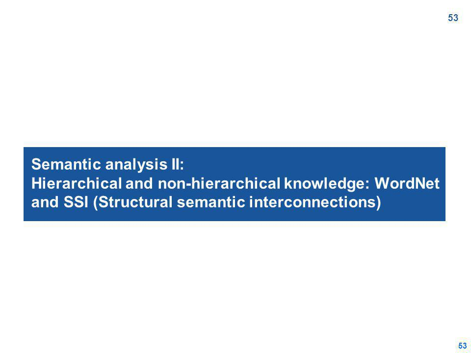 53 Semantic analysis II: Hierarchical and non-hierarchical knowledge: WordNet and SSI (Structural semantic interconnections)