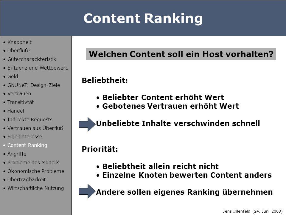 Content Ranking Beliebtheit: Beliebter Content erhöht Wert Gebotenes Vertrauen erhöht Wert Unbeliebte Inhalte verschwinden schnell Priorität: Beliebth