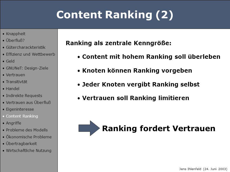 Content Ranking (2) Ranking als zentrale Kenngröße: Content mit hohem Ranking soll überleben Knoten können Ranking vorgeben Jeder Knoten vergibt Ranki