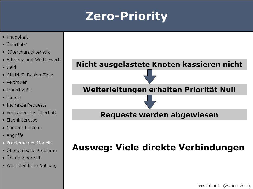 Zero-Priority Nicht ausgelastete Knoten kassieren nicht Weiterleitungen erhalten Priorität Null Requests werden abgewiesen Ausweg: Viele direkte Verbi